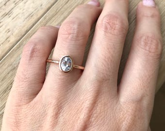 White Sapphire Promise Ring- Oval Sapphire Engagement Ring- Rose Gold Promise Ring- September Birthstone Stackable Ring-Simple Sapphire Ring