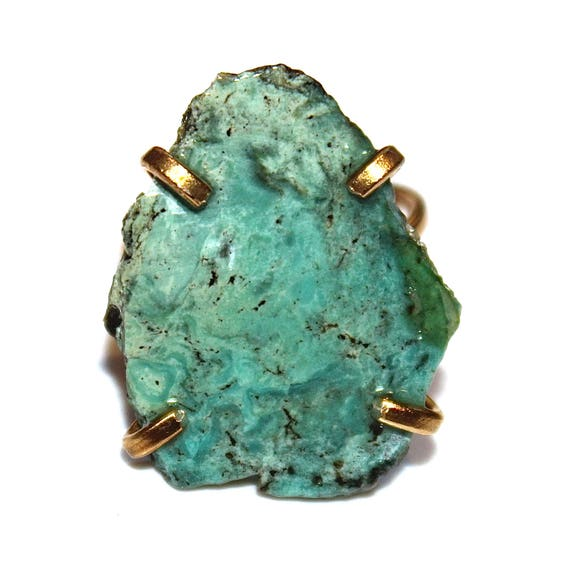 Raw Arizona Turquoise Ring in Gold Vermeil