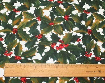 BTHY Alexander Henry Christmas Green Holly Red Berries Cotton Fabric Quilting New Free USA Shipping