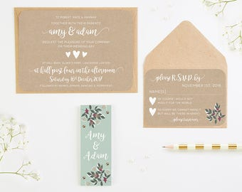 Winter Blossom & Berries Wedding Invitation Bundle