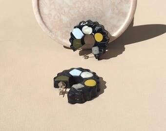 Marble Confetti Hoop Earrings