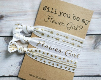 White/Gold  Flower Girl Gift 3 pcs set - Will you be my flower girl- Flower Girl's Proposal Gift- Wedding/Bridesmaid/Gift/Wedding Party