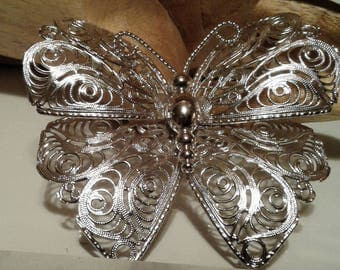 Vintage Monet Silvertone Filigree Butterfly Pin/Brooch