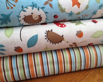 Quilting Weight Cotton Fabric Bundle from Nortcott called Tiny Treasures Fox and Friends 3 yards total