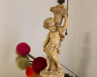 "Vintage Itailain Style Lamp, Boy Cherub, Hunter Gatherer, Romantic Decor, 14"" H, Works, Regency, Cherub, Victorian at Ageless Alchemy"
