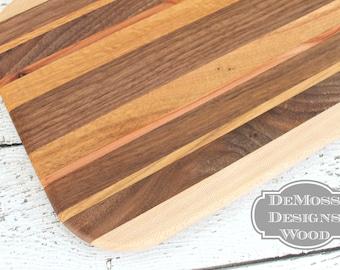 Cutting Board Wood, Handmade with 5 Wood Varieties, Bar Cutting Board, Fruit Cutting Board, Wooden Board, Urban Harvested Cutting Board