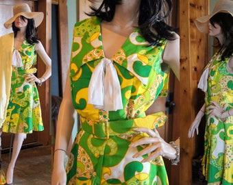 60s mini paisley mod hippie boho adorable cotton summer dress medium