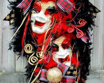 XL Mardi Gras Wreath, Comedy Tragedy Masks Mardi Gras Swag, Black Gold and Red Masquerade decor, harlequin, fleur de Li, Carnival