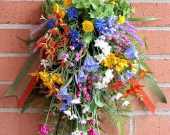Rustic Irish Wildflower Floral Swag, Ireland Wreath, St. Patricks Irish Floral, BellFlowers, Shamrocks, Clover, Primrose, Everyday