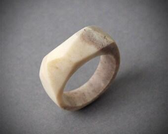 Antler ring, Size 8,5 US, Antler rings, Antler jewelry, Deer antler, Geometric ring, Bone ring, Bone jewelry, Faceted ring, Women ring