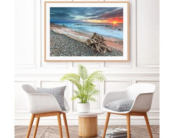 Seascape Photography Driftwood Beach Decor Ocean Photo Oversized Art Print Sunset Beach Little Compton Rhode Island Rocks Blue Orange Yellow