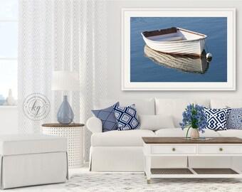 Large Rowboat Photo, Rockport MA Harbor Photography, Upscale Coastal Interior Decor, Blue White Nautical Artwork, Boat Photograph, Cape Ann