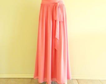 Dusty Rose Long Bridesmaid Skirt. Dusty Rose Maxi Skirt. Chiffon Floor Length Skirt.