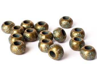 25 beads for leather or cord, antique bronze, verdigris patina