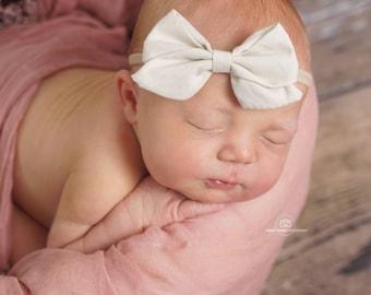 Cream Sailor Bow Nylon headband, Soft stretchy nylon baby headband, newborn headband, Knot bow headband, bow headband,  Nylon headband