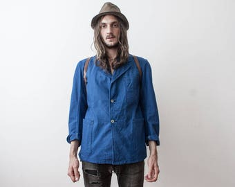 Workers Jacket 80s WorkWear Work Jacket Bleu De Travail Summer Evening