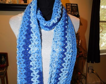 Handmade Crochet Scarf, Blue, Soft and Warm, Free Shipping