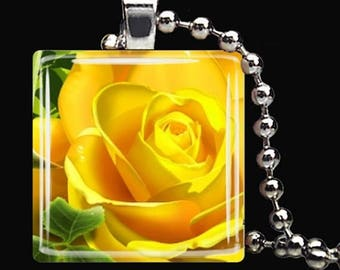 10% OFF JUNE SALE : Yellow Rose Spring Flower Garden Glass Tile Pendant Necklace Keyring