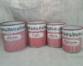 French Vintage, Enamelware , Garland Of Roses , BB Enamel,  Rare Red Stripe , French Roses, Guirlande  Roses, French Shabby, Chic Cuisine