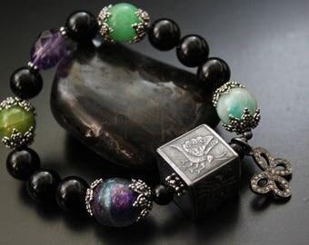 Anne Choi butterfly bead bracelet, multi gemstone bracelet, artisan sterling bead bracelet, boho OOAK diamond charm bracelet, gift for her