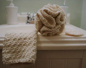 Cotton Spa Bath Gift Set in White or Cream - Shower Pouf - Crocheted Washcloth Set - Gifts for Her - Cotton Anniversary Present