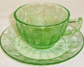 Jeannette Depression Green FLORAL POINSETTIA Tea or Coffee Cup and Saucer