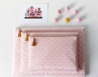 Fleece fabric iPad Tablet cover pink scales