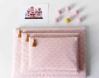 Housse molletonnée pour tablette iPad en tissu écailles rose