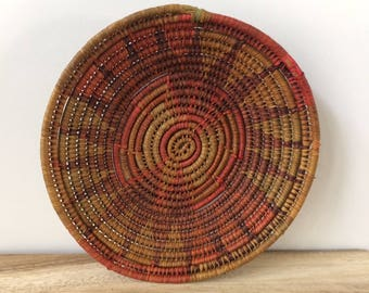 vintage woven coiled basket