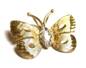 Reserved 14k Yellow Gold Diamond Butterfly Pendant Charm - Marquise Diamond - Weight 2.3 Grams # 939