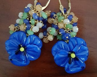 Thoughts. Semi-precious 14carats vermeil Pearl Earrings Lampwork Glass Beads.