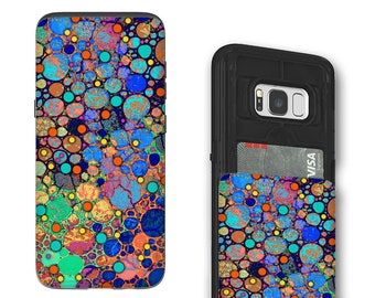 Colorful Abstract Galaxy S8 Card holder Case - Confetti Bubbles - Credit Card Wallet Case for Samsung Galaxy S8 with Rubber Sides