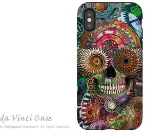 Steampunk Sugar Skull iPhone X Tough Case - Day of the Dead Dual Layer Case for Apple iPhone 10 - Steampunk Mechaniskull