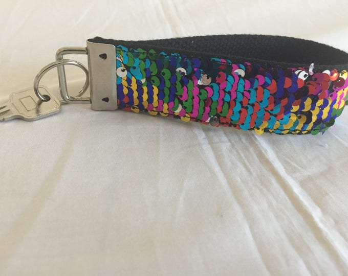 Rainbow Mermaid Sequin Key Chain, Key Fob, Wrist keychain, Key holder, Double sided sequins key chain