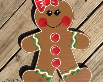 Christmas gingerbread girl or boy door hanger