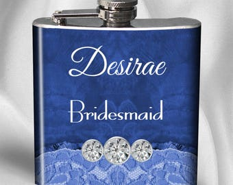 SALE! Personalized Flask - Diamond Feather - Liquor Hip Flask 6 oz - Bachelorette Party - Bridesmaid Gift - Birthday Gift- Cyber Monday