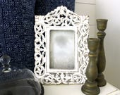 White Boho Cottage Picture Frame . Bohemian Carved Wood Photo Frame . Shabby Chic Wall Decor . Fixer Upper Decor . Farmhouse . Gallery