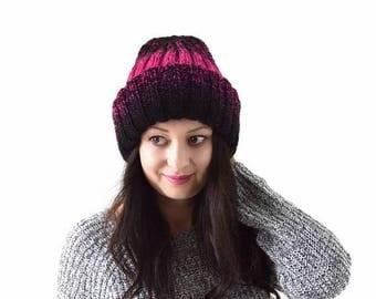 SALE Double Brim Woman Knit Ombre Gradient Hat Beanie Toque | The Agatha
