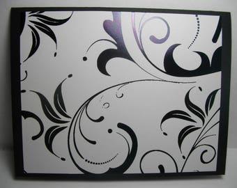Black Foiled Swirls (SS) • Box of 8 Handmade Cards