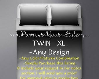 ON SALE TWIN Xl Bedding - College Bedding - Customized College Bedding - Personalized Dorm Bedding - Create Your Own College Bedding
