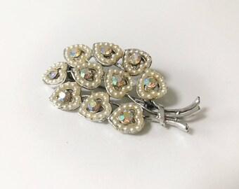 REDUCED Vintage 1950s Heart Faux Pearl and Paste Diamanté Heart Bouquet Brooch