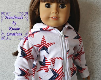 18 Inch Doll Hoodie Sweater, Kizzie Creations, Flag Star Print Hoodie, 18 inch Doll Sweater