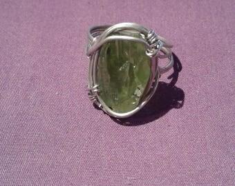 Handmade raw peridot ring, peridot jewelry, peridot crystal ring, silver peridot ring gypsy ring jewelry wire wrapped peridot
