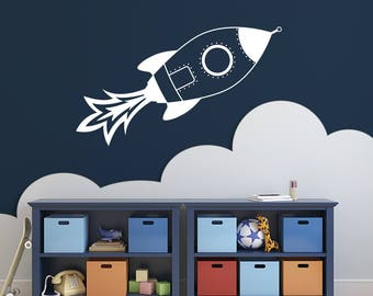 Rocket Ship Vinyl Wall Decal for kids room and more K696