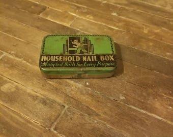 Household nail box tin art deco