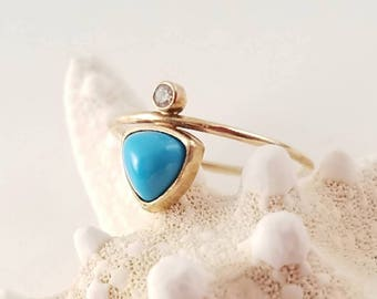14k gold turquoise and diamond ring