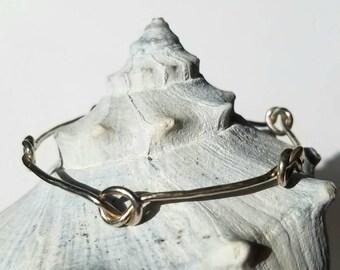 Unique infinite knots, love knots, forget me not sterling silver bangle