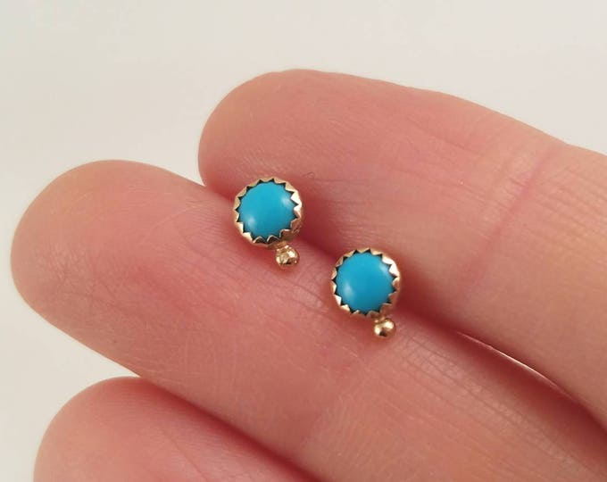 Featured listing image: Unique 14k gold turquoise earrings