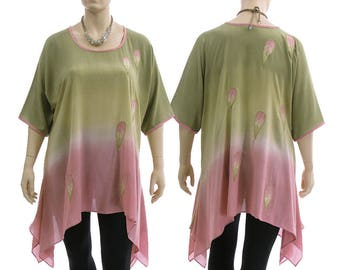 Boho summer tunic in olive-green pink, oversized hand dyed tunic with leaves, lagenlook olive green pink tunic plus size XL-XXL, US 18-24