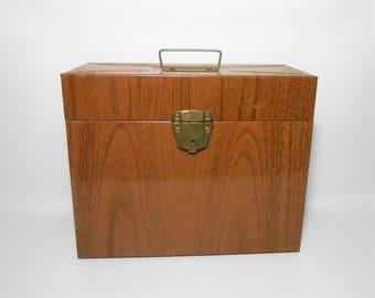Vintage File Box, Porta File, Faux Wood Grain, Ballonoff Tin, Metal File Box, Large File Box, Office Supplies, Desk Supplies